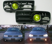 High Quality New Pair Projector Yellow Fog Light Lamp & Grille FOR VW 1998-2005 GOLF MK4 IV