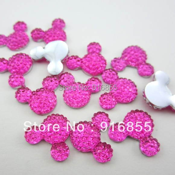 Free shipping  16*12mm Rose Color Cute Mickey head shape flatback resin rhinestone (30pcs/lot)