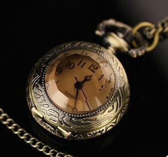 wholesale coffee glass pocket watch necklace women girl lady fob watches good quality fashion retro nice new bronze with chain