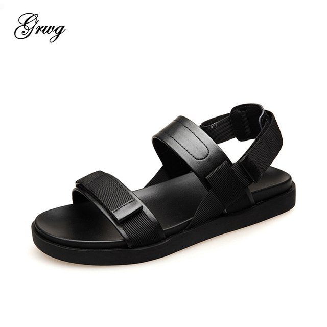GRWG 2019 New Summer Leather Men Sandals Luxury Brand High Quality Genuine Leather Sandals Men Fashion Men Leather Sandals