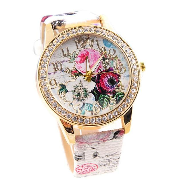 Women Watches Flowers Colored  Quartz Wristwatches PU Leather Watch Ladies Watch Relogio Feminino Relojes Para Mujer