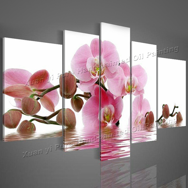 Hand-painted Oil Wall Art Purple Red Orchid Flowers Water Side Home Decoration Abstract Landscape oil painting on canvas