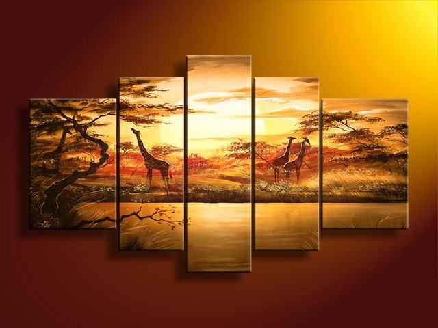 hand-painted frames of wall African forest  giraffes  Home Decoration Modern Landscape Oil Painting on canvas  5pcs/set
