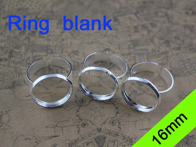 20pcs/lot Adjustable Silver Ring Base Settings Round Cabochon Cameo Blanks Trays Fit 16mm Glass DIY Jewelry Making Rings