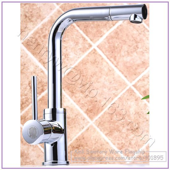 L16606 - Luxury Deck Mounted Chrome Color 360 Degree Turn Spout Hot & Cold Water Kitchen Mixer