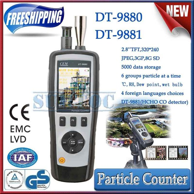 Free shipping!High Quality 4 in 1 Particle Counter with TFT color LCD display with Camera function CEM DT-9880