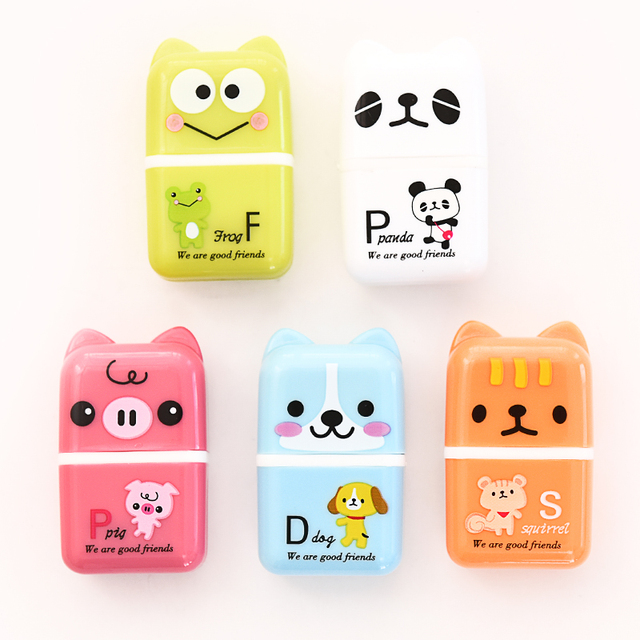 5 pcs/lot Mirui stationery Creative Roller Eraser Cute Cartoon Erasers Children student rubber School Supplies Student Gift