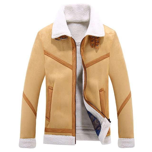 New 2018 Faux suede Men Jacket long sleeves turn down collar warm think winter jacket outwear men clothes suede jacket coat