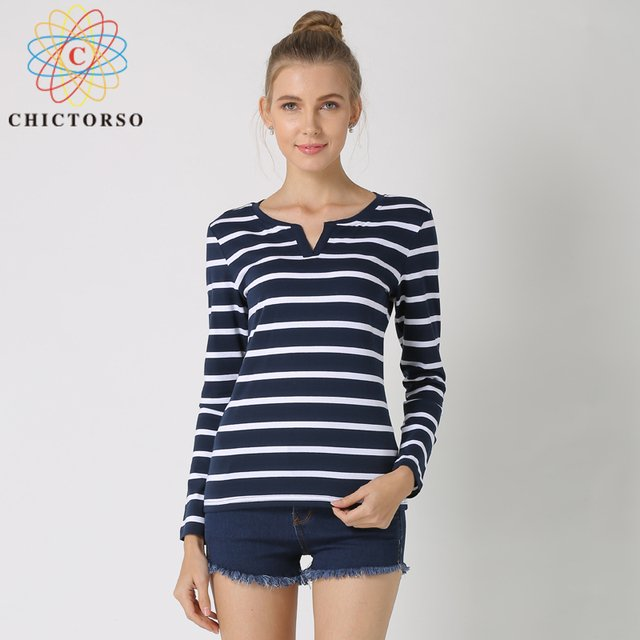 Chictorso T Shirt Women 2018 Plus Size Casual Tshirt Striped Female T-Shirt Tops Cotton Tee Shirt Femme Big Size 4XL 5XL 6XL