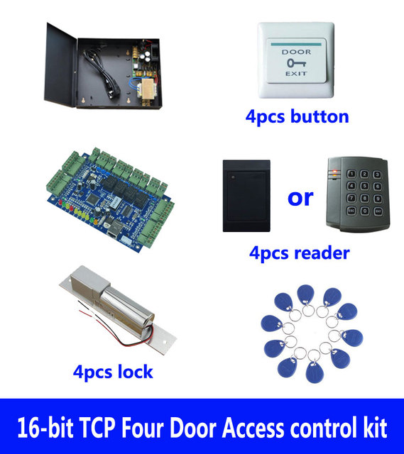 RFID card access control kit,TCP/IP four door access control+powercase+bolt lock+ID reader+exit button+10 ID tag,sn:kit-B402