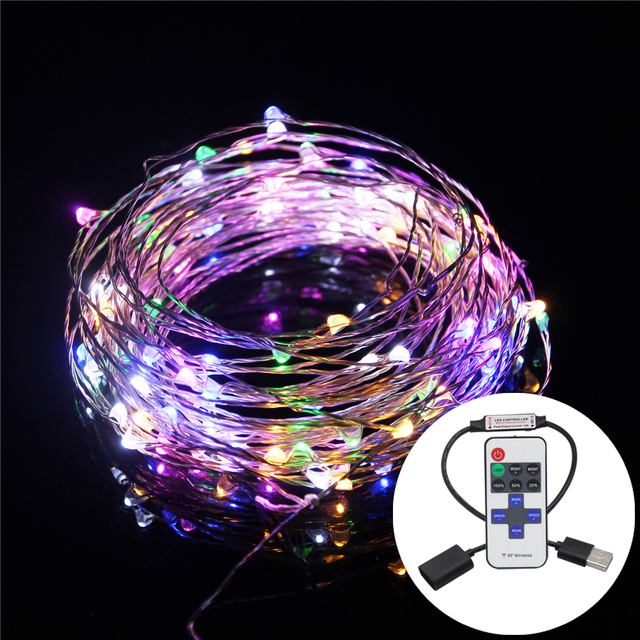 RGB LED Strip Waterproof  20M 10M 5M 2M 5V USB LED String Lights Silver Wire Fairy Indoor Outdoor Chrismas Wedding Decoration