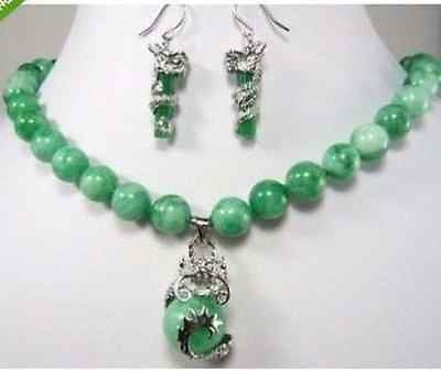 beautiful color green lab fine stone dragon pendant necklace earring set AAA style 100% Natural lab fine stone Noble Fine jewe