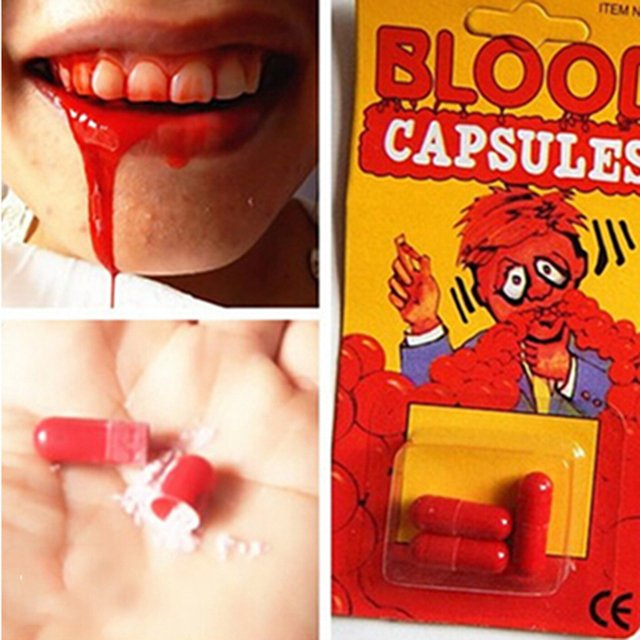 New Funny Blood Pill Trick Toys Whimsy Prop Vomiting Blood Capsule April Fool's Day Joke Toys