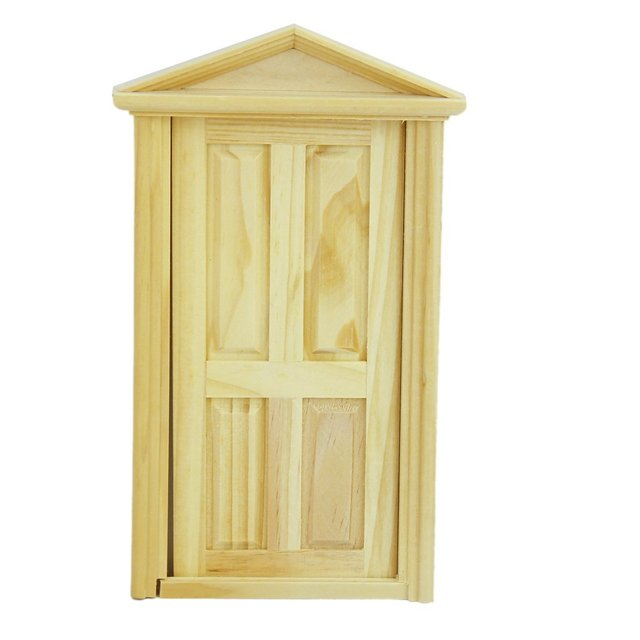 ABWE 1/12 Dollhouse Miniature Exterior Inward-Open Wood Door with Steepletop Wooden Door Matching Frame dollhouse Accessories