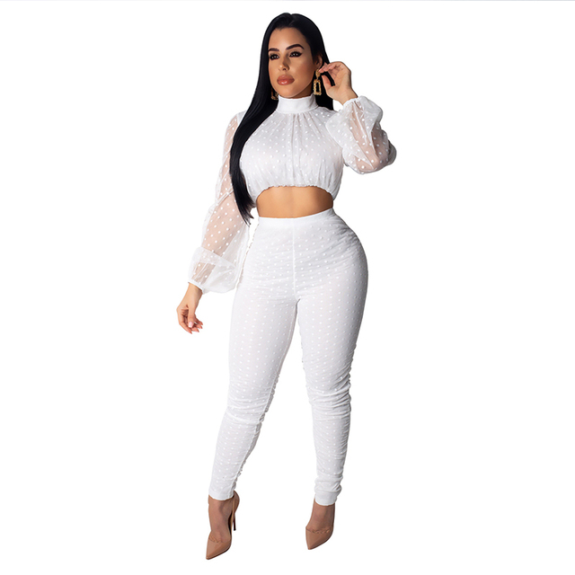2019 Sexy Two Piece Set Women Perspective Mesh Long Sleeve Crop Top and Bodycon Pants Suit 2 Piece Club Outfits Matching Sets