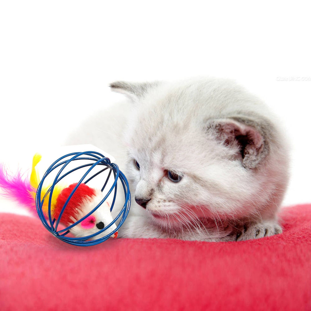 Cat Playing Ball Mouse in Cage Toy Cute Metal+Plush Diameter 6CM Pets Supplies Dogs Cat Training Mice