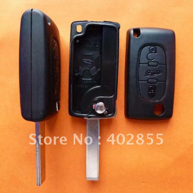 Peugeot 407 3 button auto remote control car key shell remote key shell with groove