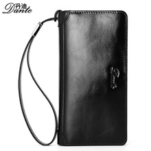 Dante Men Leather Brand Wallets Vintage Casual Genuine Cowhide Long Clutch Wallet Male Phone Pocket Pouch , Carteira Masculina
