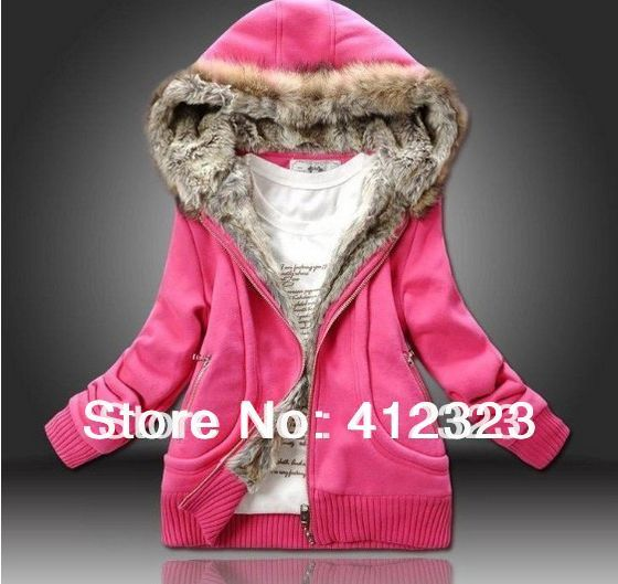 2015 new  lady women warm winter coat hoody Fur Collar hooded sweater women clothing M L XL