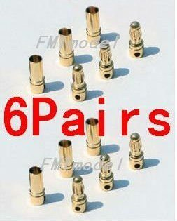 F00149-6, 6Pairs Thick Gold Plated 3.5mm Bullet Connector ( banana plug ) For ESC battery