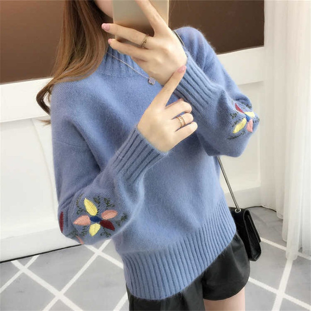 New  Fashion 2020 Women Autumn Winter  Embroidery Cat Brand  Sweater Pullovers  Warm  Knitted Sweaters Pullover  Lady