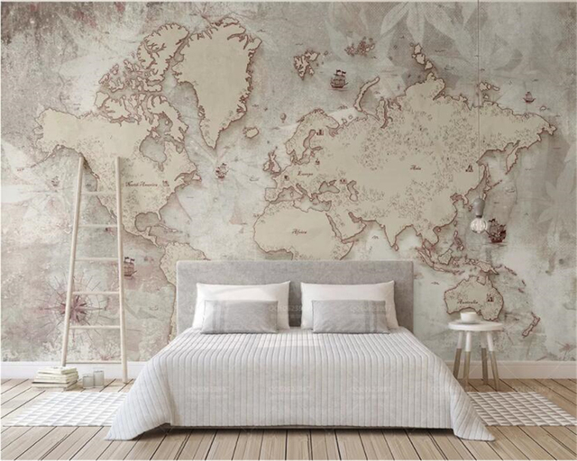 Beibehang Custom wallpaper retro style old American Nordic world map TV background wall home decoration 3d wallpaper