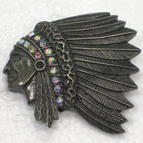 12pcs/lot Wholesale Brooch Rhinestone Indians Chief Head Fashion Pin brooches Jewelry gift C101703