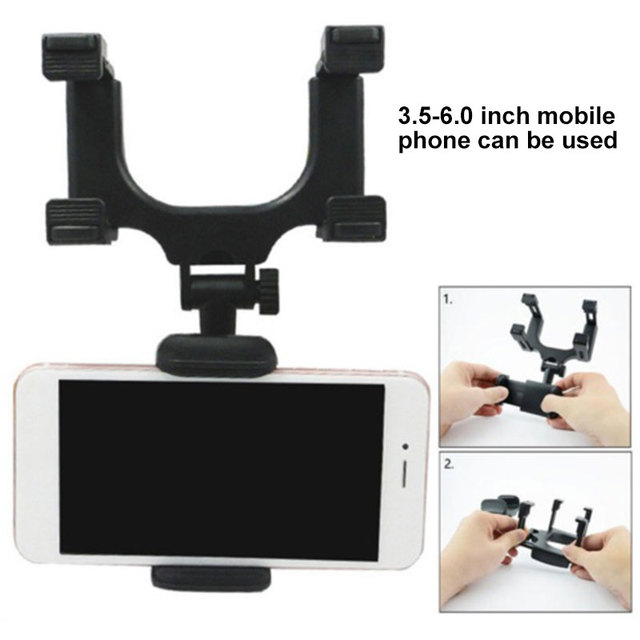 Car Rear View Mirror Black Car Dashboard Car Mount Holder Adjustable GPS Mount Holder Car Phone Holder Universal