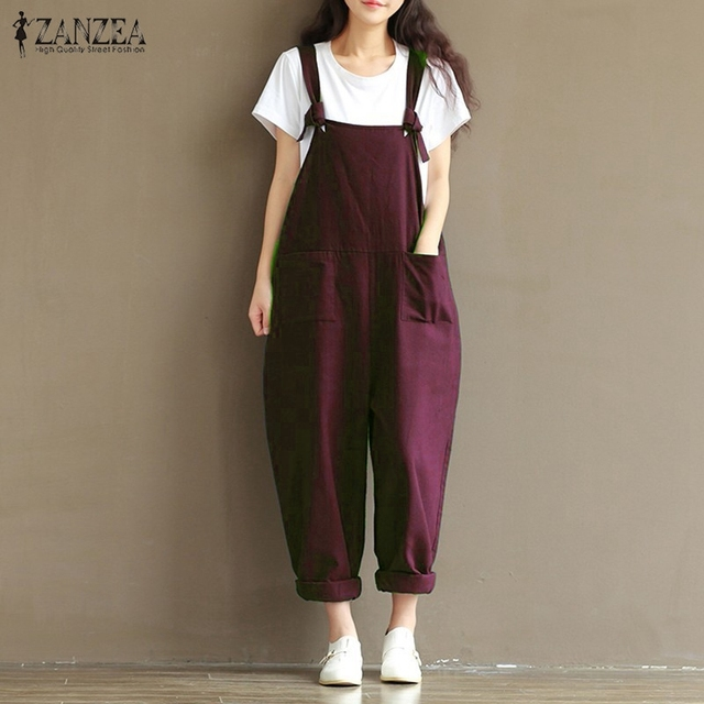 ZANZEA 2020 Casual Rompers Womens Jumpsuits Vintage Sleeveless Backless Casual Loose Solid Overalls Vintage Strapless Paysuits