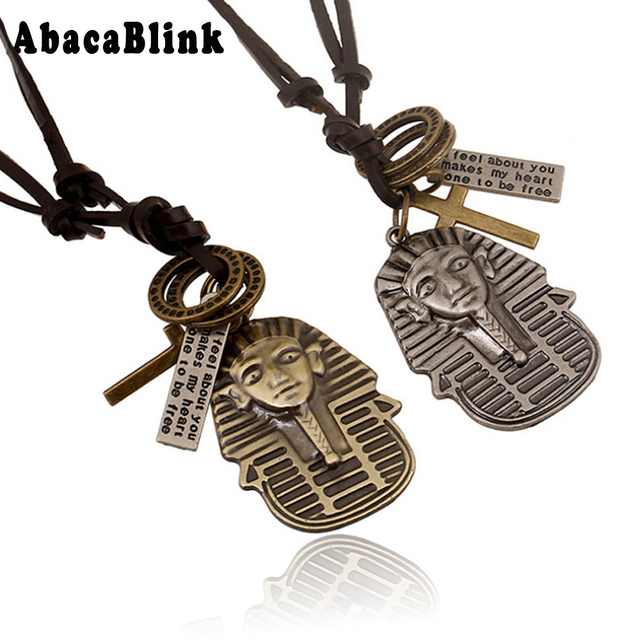 Punk Vintage Leather Rope Chain Necklaces For Male Ethnic Style Alloy Egyptian Pharaoh Cross Pendant Necklace Choker Men Jewelry