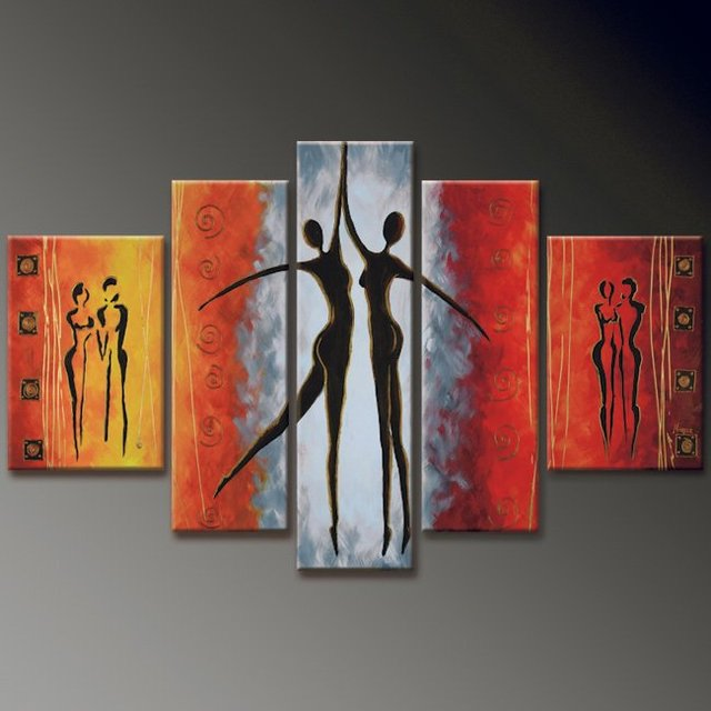 hand-painted  oil wall art romantic Lovers dancer home decoration  Landscape wood Framed oil painting on canvas 5pcs/set mixorde
