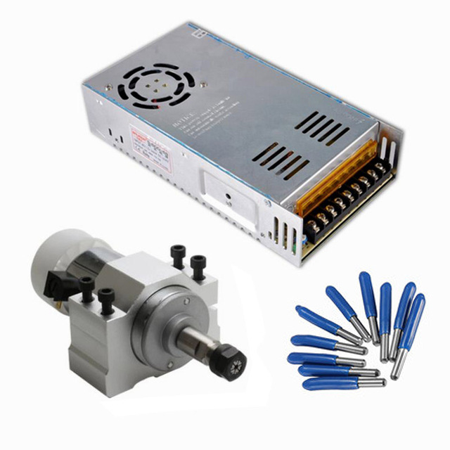 300W Spindle Motor DC Air Cooled Motor Driver 52MM Clamp ER11 CNC Spindle Motor kit For Engraving Machine