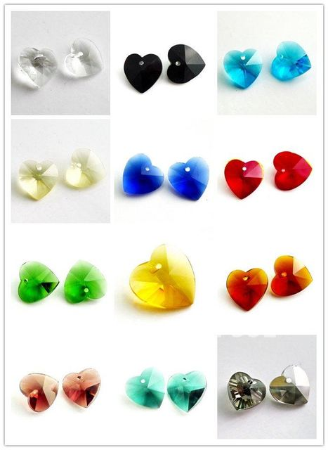 Free Shipping!  100Pcs/Lot Mix 14mm heart Crystal Beads Crystal Pendants  in wholesale HEART01