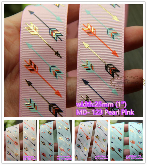5 colors to select 10 yards 1'' Gold Arrow Hot Stamped Printed Grosgrain Ribbon Tapes hairbow gift pack clothing Bowknot diy