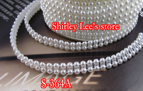 HOT SALE!!!! 6 Rolls (25 yards /Roll) X 7mm FLAT BACK Double Round  PEARL BEAD TRIM in Ivory,Sewing Triming , DIY  FREE SHIPPING