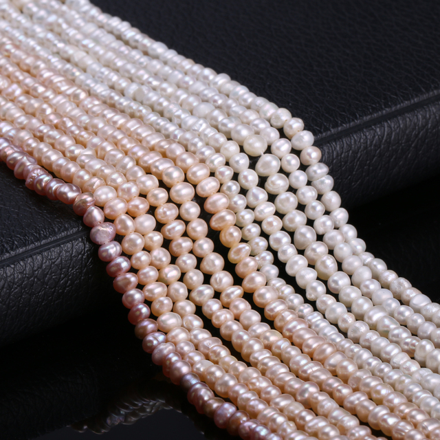 Natural Freshwater Cultured Pearls Beads Round 100% Natural Pearls for Jewelry Making Necklace Bracelet 13 Inches Size 3-4mm