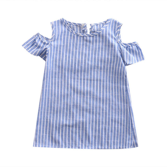 Summer Dress For Girl Newborn Kids Baby Girls Striped Dress Off Shoulder Infant Casual Princess Mini Dresses