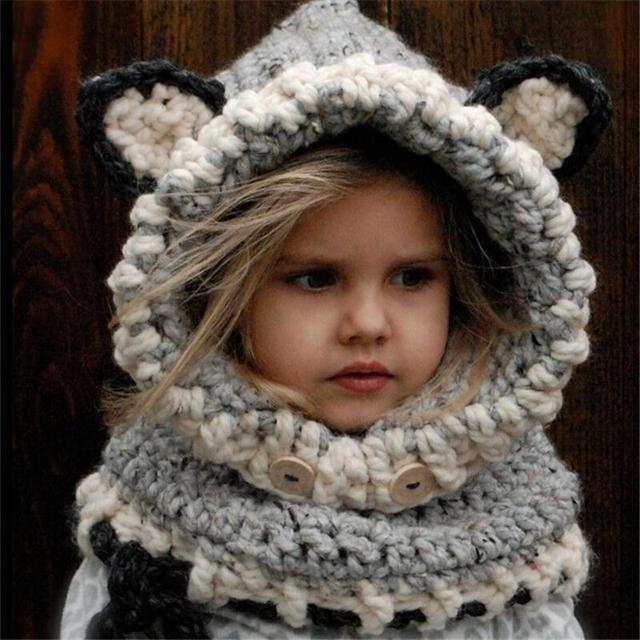 Animal Ear Winter Windproof Baby Hats And Scarf Set For Kids Boys Girls Caps