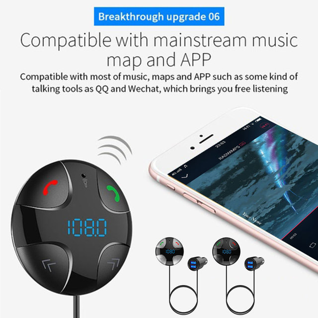 Vehemo Bluetooth 4.2 Auto Music Receiver Audio Car Bluetooth Receiver Universal Mp3 Handsfree Stereo for Home Hands-Free