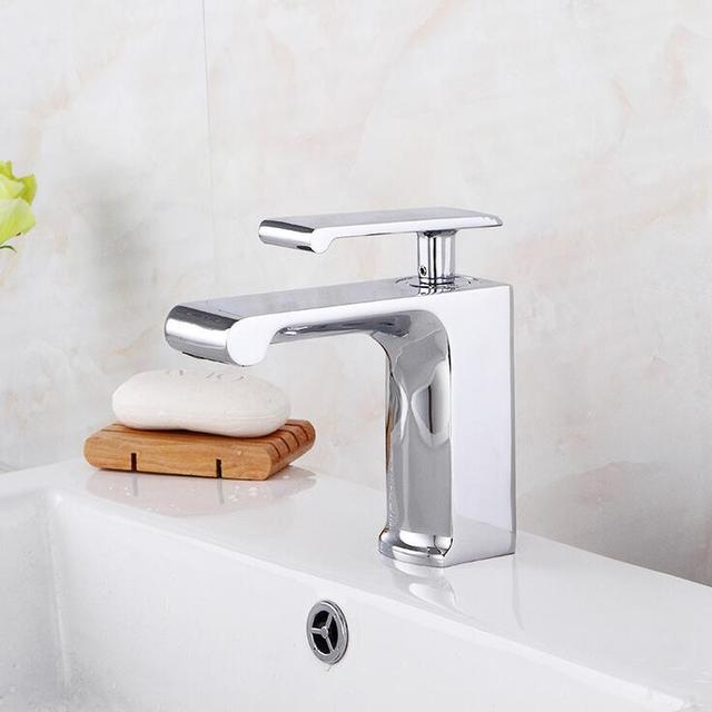 Fashion hotel copper sink basin faucet, Single hole toilet basin faucet mixer water tap,Bathroom wash basin faucet chrome plated