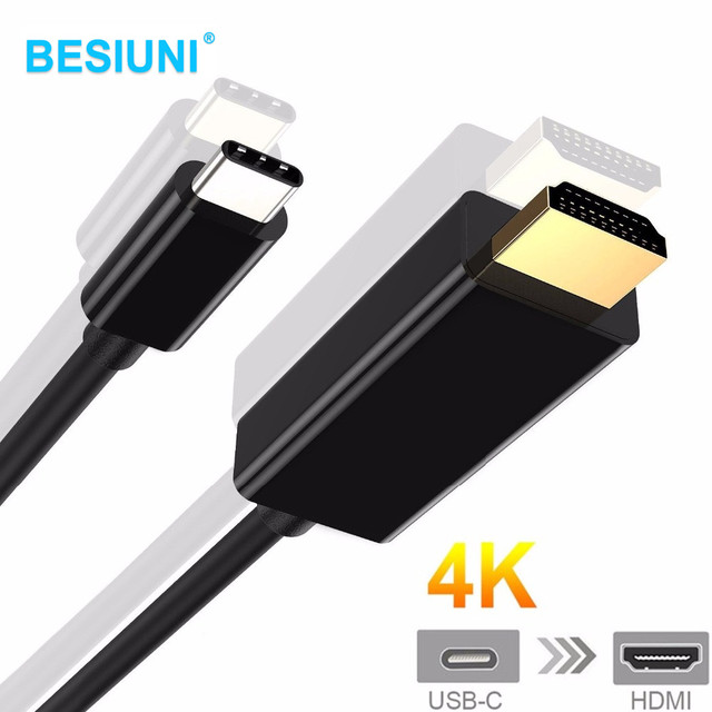 Type C To HDMI Cable 4K HDTV Adapter Gold USB 3.1 USB-C To Hdmi for MacBook,ChromeBook Pixel,Huawei MateBook