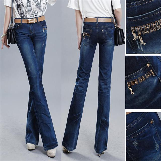 High Quality women's spring big straight Ripped Jeans Mid waist wide leg Denim pants Flare Trousers free shipping