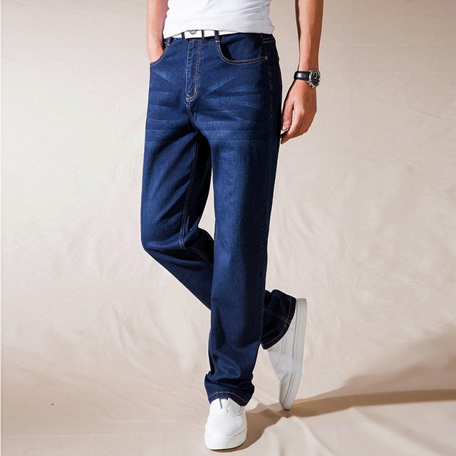 High Quality New Winter autumn Male Casual Business Jeans Men's Loose Mid waist Pants