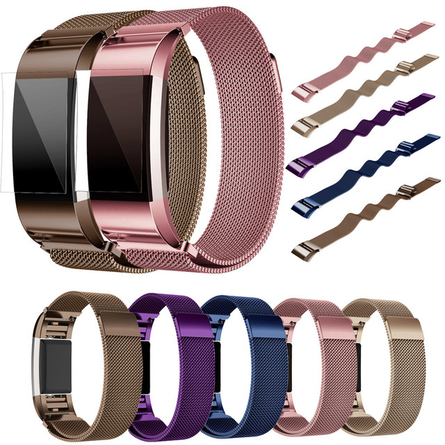 Milanese Stainless Steel Watch Band Strap Bracelet + HD Film For Fitbit Charge 2 Smart Wristbands For Fitbit Charge 2 N24