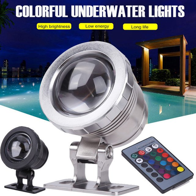 Durable Underwater Light RGB 16 Colors 5W AC/DC12V Remote Control Waterproof Garden Pond Tank Fountain Light LED Light