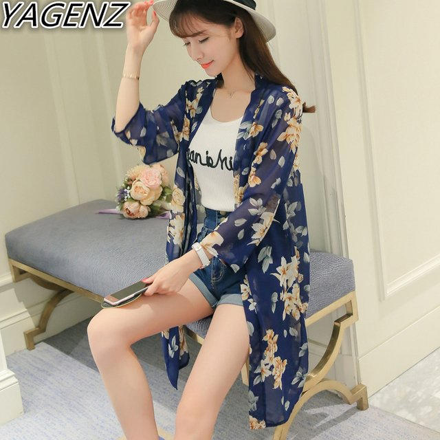 YAGENZ Summer Women's Chiffon Cardigan Sun Protection Clothes 2017 Fashion Casual Female Long Chiffon Blouses Women's Print Tops