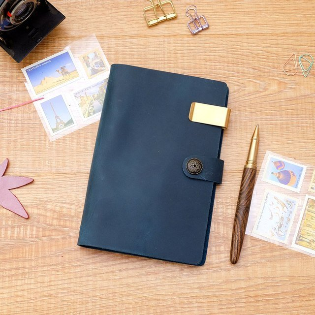 Handmade Genuine Leather A6 Spiral Notebook Cowhide Diary loose leaf