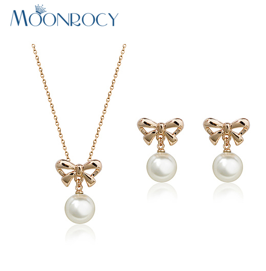 MOONROCY Free Shipping crystal necklace and earrings Rose Gold Color Imitation Pearl Jewelry Set for women