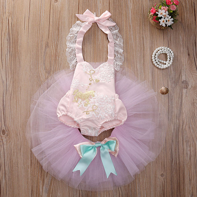 Hot Sale Toddler Baby Girls Sleeveless Tops Romper + Tutu Mesh Skirt Outfits Clothes set summer clothing for Girl Bebe Newborn