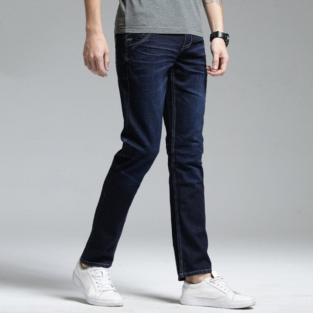 Jeans Business Casual Thin summer Straight Slim Fit Blue Jeans Stretch Denim Pants Trousers Classic Cowboys Young Man size 38